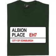 Hibernian FC: Albion Place EH7 Road Sign T-Shirt