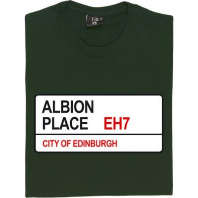 Hibernian FC: Albion Place EH7 Road Sign