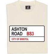 Bristol City: Ashton Road BS3 Road Sign T-Shirt