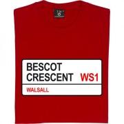 Walsall FC: Bescot Crescent WS1 Road Sign T-Shirt