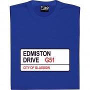 Rangers FC: Edmison Drive G51 Road Sign T-Shirt