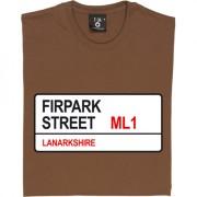 Motherwell FC: Firpark Street ML1 Road Sign T-Shirt