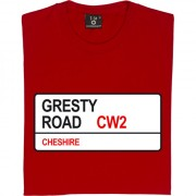 Crewe Alexandra: Gresty Road CW2 Road Sign T-Shirt