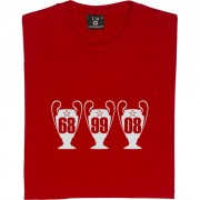 Manchester United Three European Cups Trophies T-Shirt