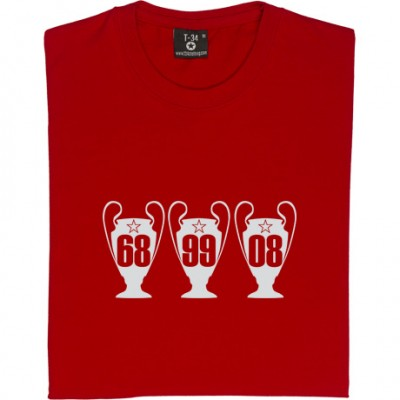 Manchester United Three European Cups Trophies