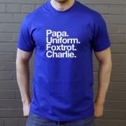 Peterborough United FC: Papa Uniform Foxtrot Charlie T-Shirt