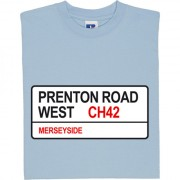 Tranmere Rovers: Prenton Road West CH42 Road Sign T-Shirt