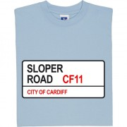 Cardiff City: Sloper Road CF11 Road Sign T-Shirt