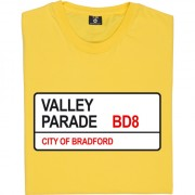 Bradford City: Valley Parade BD8 Road Sign T-Shirt