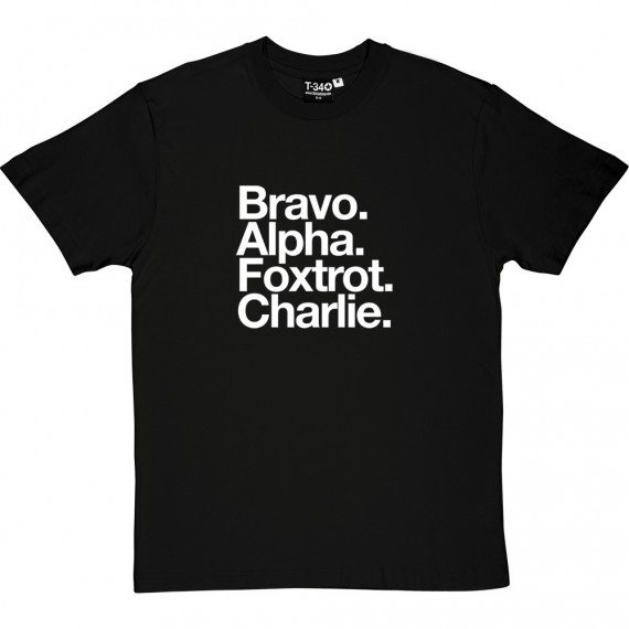 Burton Albion FC: Bravo Alpha Foxtrot Charlie T-Shirt