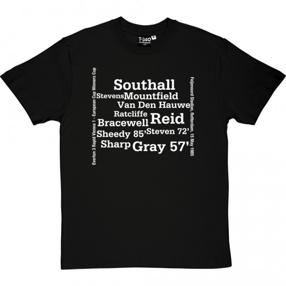 Everton 1985 European Cup Winners Cup Final Line Up T-Shirt
