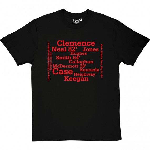 Liverpool 1977 European Cup Final Line Up T-Shirt
