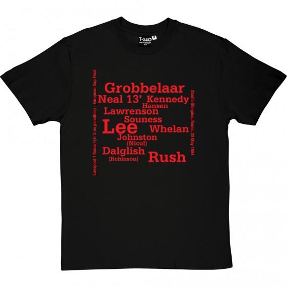 Liverpool 1984 European Cup Final Line Up T-Shirt